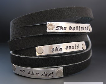Custom Leather Wrap Bracelet / Personalized Leather Cuff /  Hand Stamped / Journey Bracelet / Gifts for Her / Graduation Gifts / Birthday