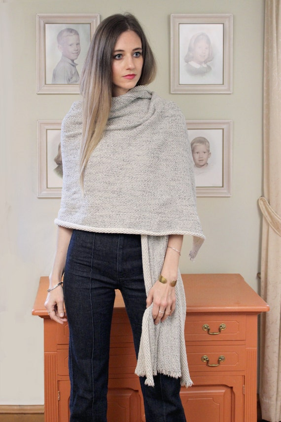 LAST ONE. Coziest Wrap Scarf in Warm Grey. Soft Knit Wrap Scarf. Terry Knit Large Scarf
