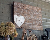 Unique Wedding Guestbook Pallet Sign with Heart and Initials
