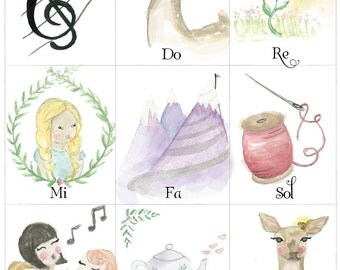 Do Re Mi Watercolor Illustration Nursery Print