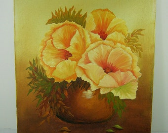 Vintage FLOWER PAINTING Hibiscus in Vase Yellow/Peach Floral Acrylic Signed