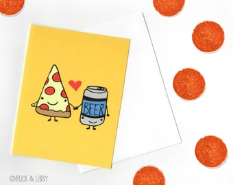 Pizza Loves Beer Valentine's Day Card with Envelope blank inside