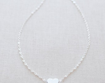 Tiny Silver Heart Necklace - little silver heart - silver necklace - 1116