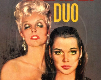 The Deadly Duo - 10x15 Giclée Canvas Print of a Vintage Pulp Paperback Cover