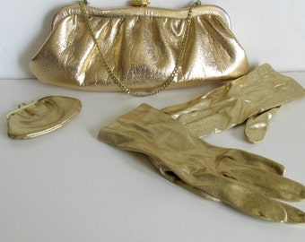 Mid century Gold Evening Bag, Change Purse, Gold Lame' Gloves, Mod Gold Clutch, Gold Gloves,  Vintage Accessories