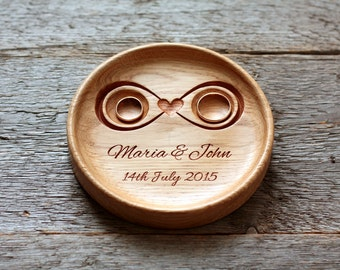 """Personalized Wood Wedding Ring Bearer Pillow Wedding ring plate Ring bearer pillow alternative Wedding Anniversary Gift """"Infinity"""""""