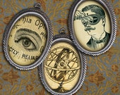 22 x 30mm Victorian Steampunk Science & Medicine - Cameo Size Oval Images - Digital Collage Sheet, Instant Download, Steampunk Printables