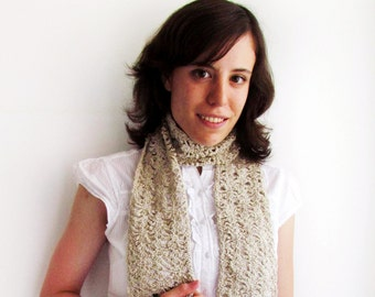 Lacy summer scarf, hand crocheted, beige