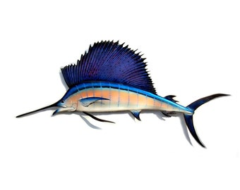 "Sailfish sculpture 57"" wood carving, Sailfish wall art, Sailfish collectible Sailfish decor, fishing sculpture, fishing art, wall sculpture"