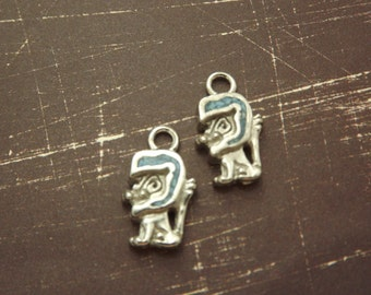 Sterling Silver and Turquoise Lion Charms (2)