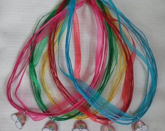 10 Rainbow Necklaces Party Favors.