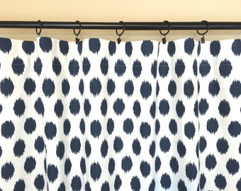 Premier Navy Ikat Dots Curtains. Pair of 2 Panels. Blue Window Drapes. All Sizes. Curtains. Drapery. Dark Blue