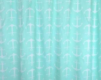 Mint Green Anchors Curtain Panels. All Sizes. Coastal Beach Decor. Drapery. Window Treatments.
