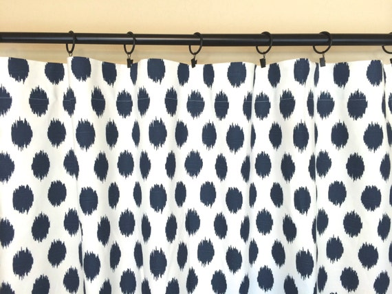 Premier navy ikat dots curtains pair of 2 panels blue window drapes