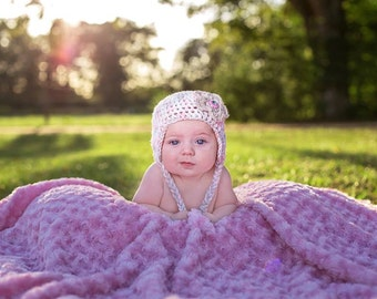 Light Pink Infant Camo Baby  Hat with ear flaps and braids and optional Booties Set-  Baby Shower Gift,