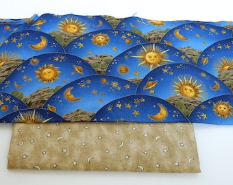 Stars and Moon Fabric - Blue Cotton Fabric - Sewing Supplies Destash - 100% Cotton Fabric - Quilt Fabric - Tan Fabric with Stars - Gold Suns