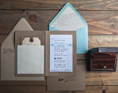 All You Need is Love Typewriter Invite with Library Card SAMPLE with new illustrated map