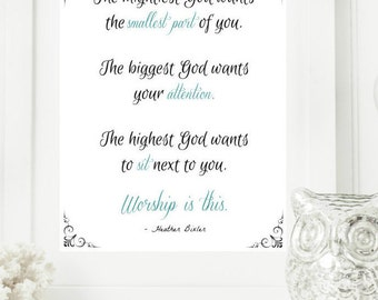 """Instant """"Worship is this."""" Mint and Black Wall Art Print 11x14 Typography Printable Home Decor"""