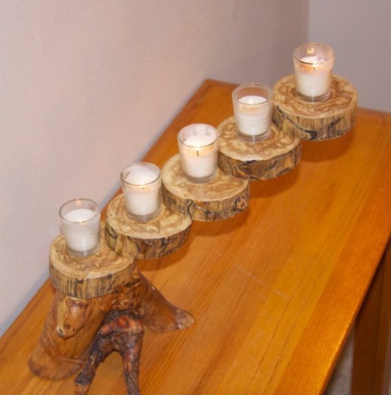 Rustic Wooden Tea Light Holder Free Shipping: Rustic Candle Holder Floating Candle Mantle By AspenSpirit