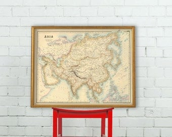 Asia map - Archival  print  - Large wall map of Asia - Vintage maps restored