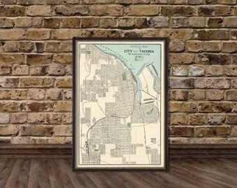 Tacoma  map  (Washington) - Old map of Tacoma print - Fine reproduction