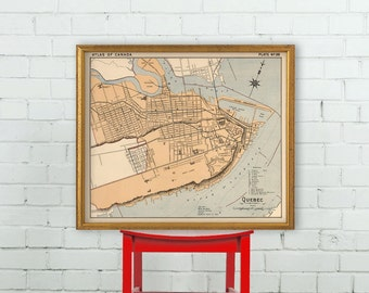Vintage map of Quebec -  Old city map archival reproduction