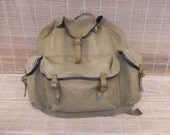 Vintage Washed Out Green Canvas Large Size Bag Backpack Rucksack