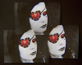 Heart Shaped Eye Patch Mirror Red and Black Shiny PVC