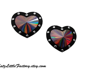 Heart Shaped Pasties Mirror Iridescent Pewter and Black PVC Studded Nippies