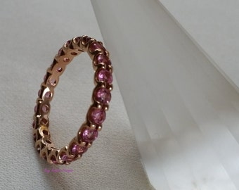 Pink Gold with Pink Tourmaline eternity band by Kay Knight Designs