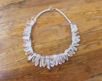 Raw Crystal NECKLACE / Clear Quartz Jewelry / Large Statement Necklace