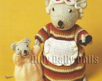 Anne Carol Creations Woolly Wotnots No 27 BEDTIME MOUSE Toy Doll Ornament Knitting pattern