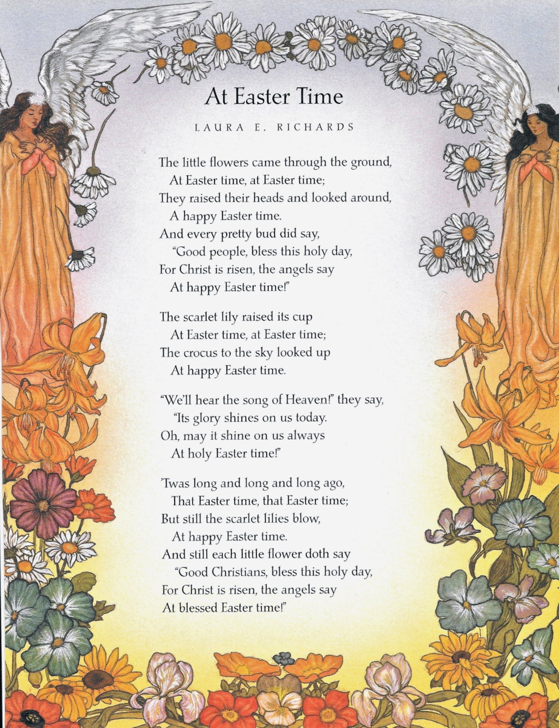 Religious EASTER Print Christ Jesus Angels Daisy Chain Poem