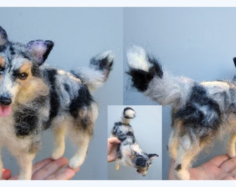Felted dog, custom dog portrait, soft sculpture, needle felted pet, memorial urn decor, pet loss gift, border collie, labradoodle, any breed