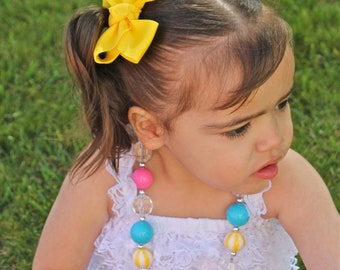 Yellow Pigtail Bow Set - Pigtail Bows  - Yellow Pig Tail Bows