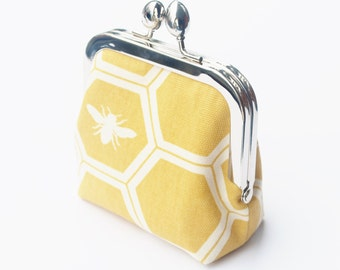 Bee Coin Purse, Snap Frame Purse, Organic HoneyComb Canvas, Medium Size