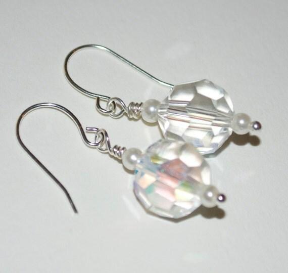 Crystal Bridesmaid Earrings, Bridal Jewelry, Crystal Pearl Dangle Earrings, Bridesmaid Gift, Wedding Jewelry, Drop Earrings, Beaded Jewelry