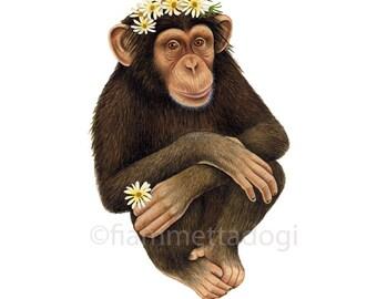 Chimpanzee art print by Fiammetta Dogi 8x10