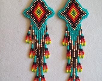 Native American Style Beaded Turquoise Firey Sunburst Earrings Shoulder Duster Loom, Southwestern, Boho, Peyote, Gypsy, Brick Stitch Gift
