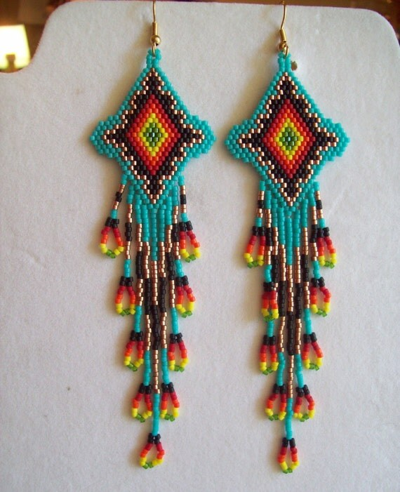 Native American Style Beaded Turquoise Firey Sunburst Earrings Shoulder Duster Loom, Southwestern, Boho, Peyote, Gypsy, Brick Stitch Gift
