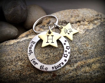 Graduation Keychain Gifts - Reach for the Stars - Personalized Class of 2016 - Hand Stamped Graduation Gifts - Unisex Grad Gifts - Star Gift