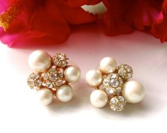 Rhinestones & Faux Pearl Bridal Wedding Earrings Retro Fashion Romantic Jewelry