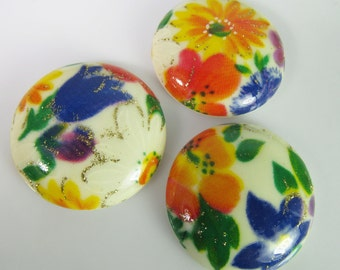 6 Vintage 28mm Spring Floral Multi Color Decal Cabochons Cb86