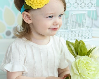 Felt Flower Headband - Yellow Turquoise Polka Dot Headband - Baby Girls Headband - Wool Felt -Daisy Headband - Yellow Felt Hair Bow- Spring