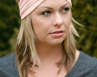 Peach Knit Turban Wrap Headband