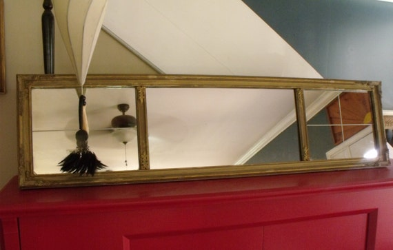 4 Ft Antique Mantle Mirror Three Section Gilded Gesso By
