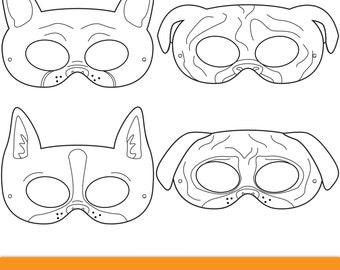 Dog Breed Printable Coloring Masks, Boston Terrier Mask, Pug Mask, Bulldog  Mask,