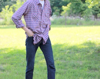 1970s men's plaid western pearl snap shirt. Size XL