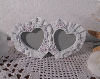 Valentine's Day Gift Heart Frame White Shabby Chic Picture Photo Romantic Cottage French Country Farmhouse Paris Apartment Home Decor Her