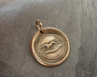 Horse wax seal charm - antique wax seal jewelry in bronze